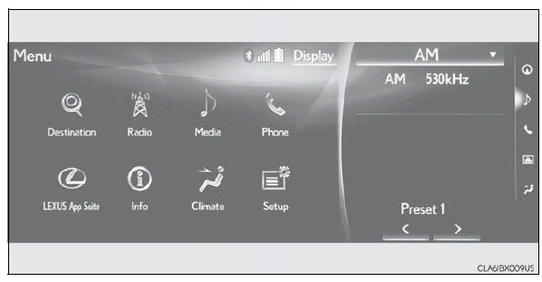Lexus RX. Basic operation of the Remote Touch screen